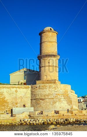 Most watchtower. Fort St. John - buildings to protect the Old City Port. Marseille -  large port in the south of France