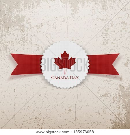 Canada Day greeting realistic Emblem. Vector Illustration