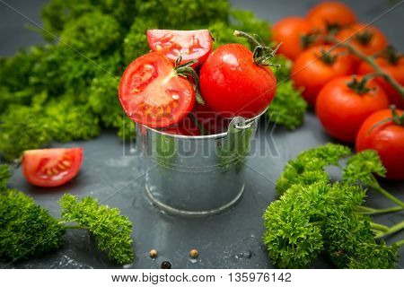 fresh organic tomatoes. the detox concept.  the diet concept.
