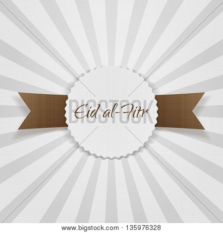Eid al-Fitr greeting paper Badge. Vector Illustration