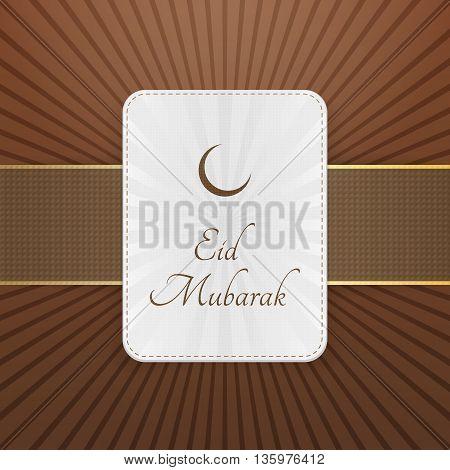 Eid Mubarak decorative Tag with Ribbon. Vector Illustration