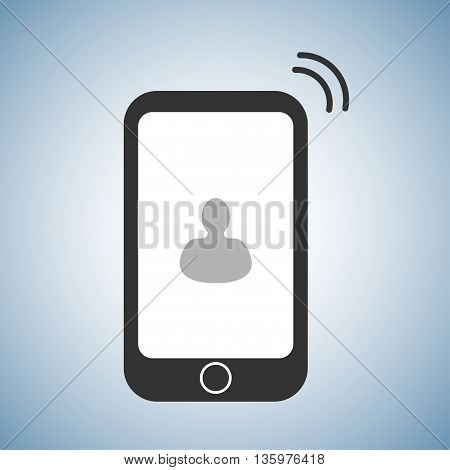 flat phone icon with interlocutor picture on display and ring symbol