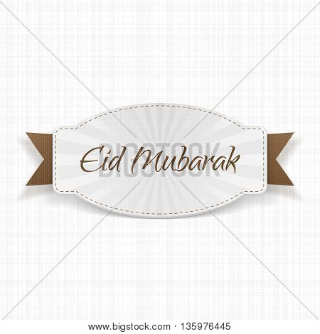 Eid Mubarak festive Label with Ribbon. Vector Illustration