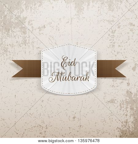 Eid Mubarak paper Badge with Ribbon. Vector Illustration