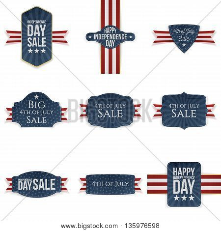 4th of July realistic Banners Set. Vector Illustration