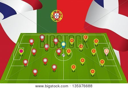 composition of a football pitch and flags