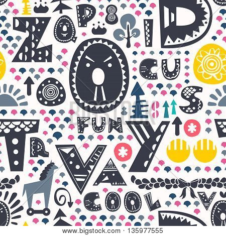 Doodle seamless pattern with alphabet funny letters and other design elements. Vector background for print, home decor, textile design, wrapping paper, wallpaper