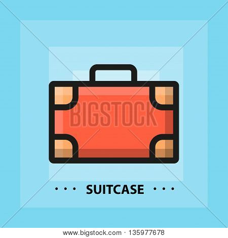 Vector flat suitcase icon. Line flat sign