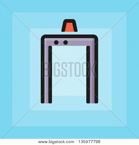 Vector flat pmetal detector frame icon. Line flat sign