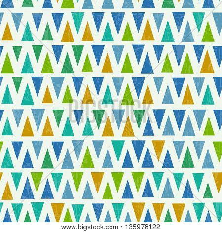 Seamless triangle pattern. Retro colorful textured background