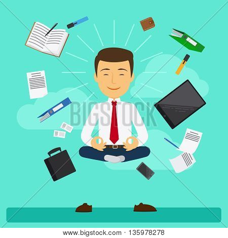 Businessman doing business yoga in lotus pose. Vector illustration
