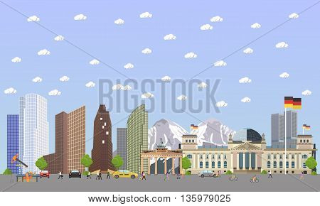 Travel to Germany concept vector illustration. Berlin city landscape. German landmarks and destinations.