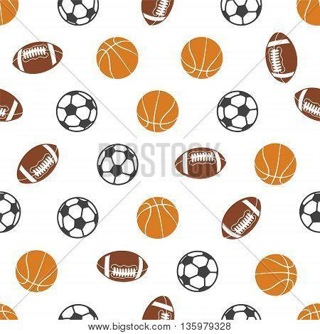 Seamless vector pattern - sports balls (soccer basketball american football)