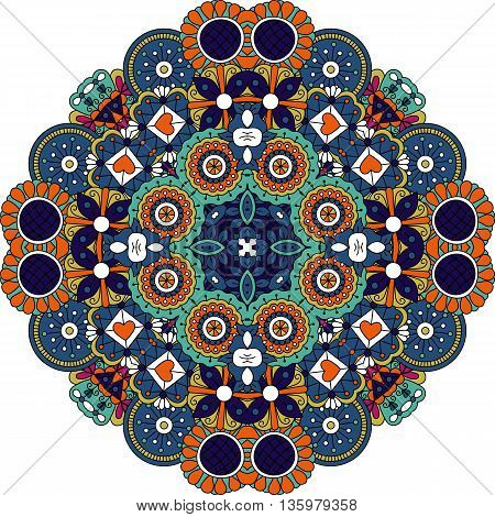 Pretty geometric design colored orange and blue with floral elements  hearts and other patterns