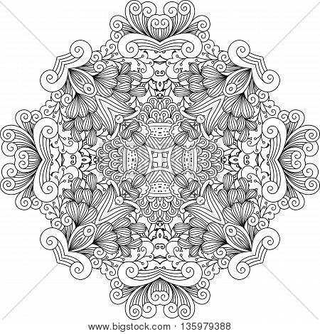 Colorless floral patterns with geometric elements and other lovely designs against a white background