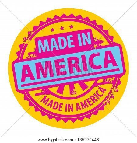 Abstract grunge rubber stamp with the text Made in America written inside the stamp, vector illustration