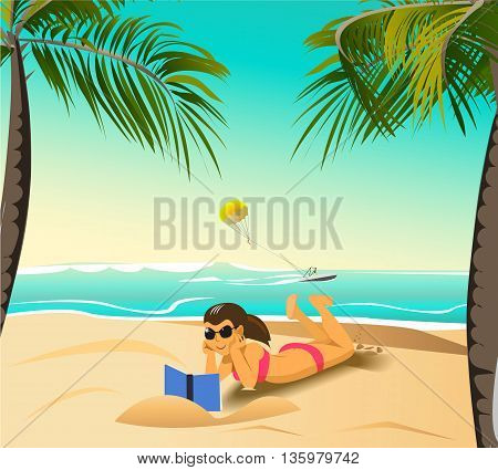 girl reading book on the beach under palm trees