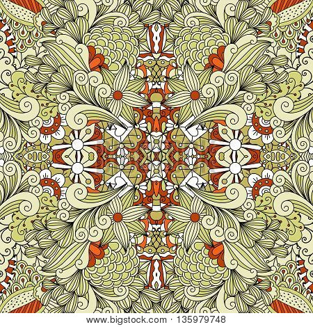 Seamless brown and green toned background with pretty ornamental patterns and geometric flowers
