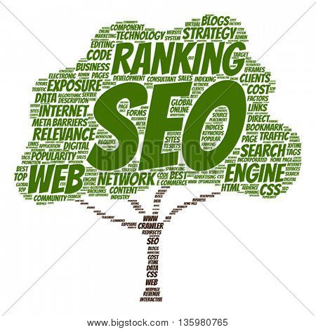 Vector concept or conceptual search engine optimization, seo abstract tree  word cloud isolated on background