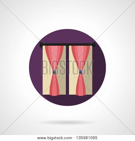 Sample of pink satin curtains with simple drapery. Stylish and modern interior design and window treatment elements. Round flat color style vector icon.