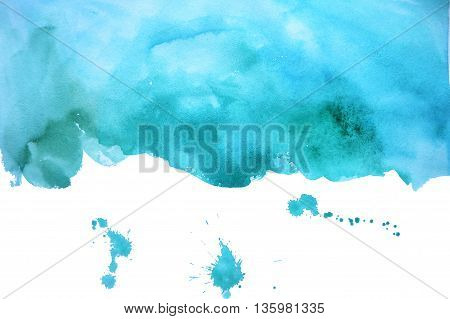 watercolor fuzzy blue spot with shades of green with splashes at the bottom