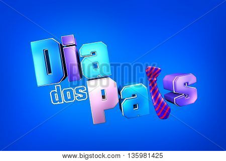 Dia dos pais título. father's day title with necktie. 3d illustration.