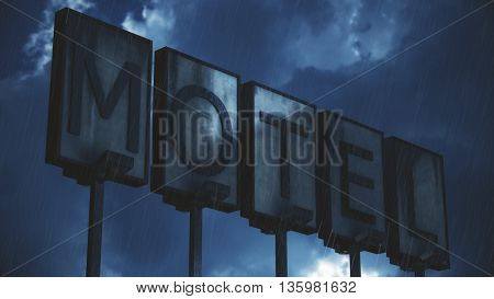 Old Grungy Motel Sign in Rain Real Clouds Timelapse and 3D Illustration Design Composite