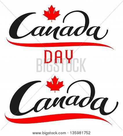 Canada Day. Set lettering text for greeting card. Isolated on white vector illustration