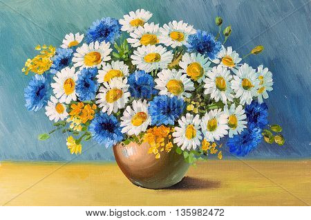 oil painting - still life a bouquet of flowers daisies decoration design