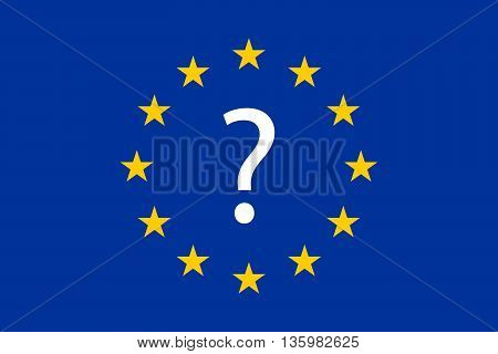 flag of the european union with the question mark in the center. eurozone crisis. future of the european union concept. vector illustration.