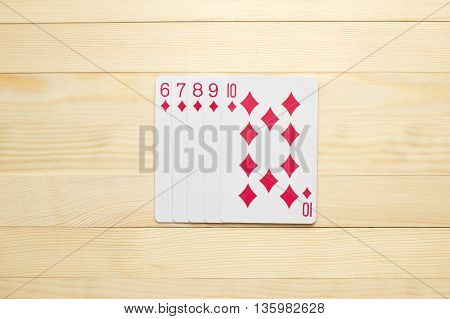 diamonds Straight Flush poker combination play cards