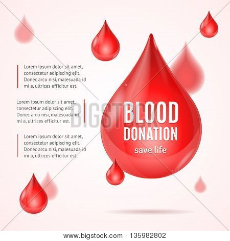 Blood Donation Concept with Place for Your Text. Vector illustration