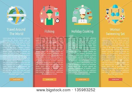 Holiday and Recreations Vertical Banner Concept | Set of great vertical banner flat design illustration concepts for holiday, recreations, traveling, tour and much more.