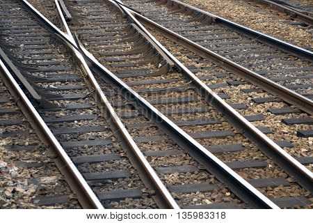 a close up of railway line whith the approach of a major railway station