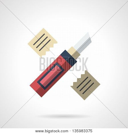 Knife for cutting of linoleum, floor covering materials, gypsum plasterboard and others. Construction and repair tools. Flat color style vector icon.