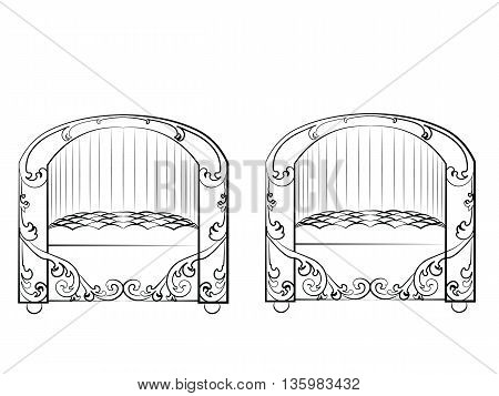 Armchair furniture set. Elegant furniture with rich ornaments. Baroque Luxury style furniture. Vector