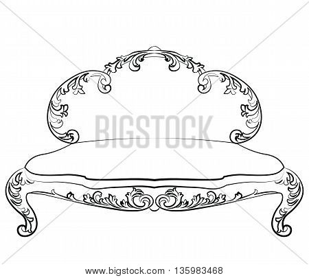 Classic royal sofa with luxurious ornaments . Vector sketch