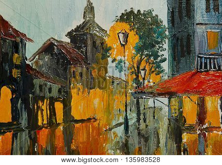 Oil painting - Street in rainy weather abstract art impressionism