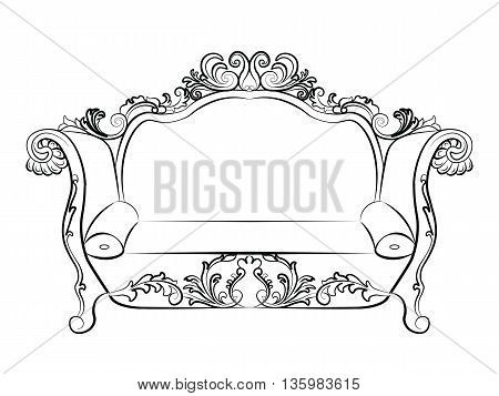 Baroque Imperial luxury style furniture. Elegant sofa with luxurious rich ornaments. Vector sketch
