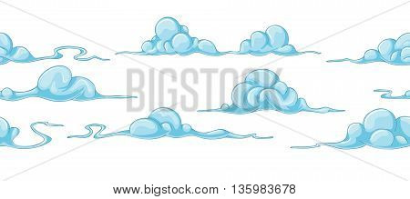 some blue cartoon clouds continuous background, seamless