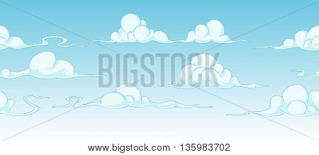 some bright cartoon clouds continuous background, seamless