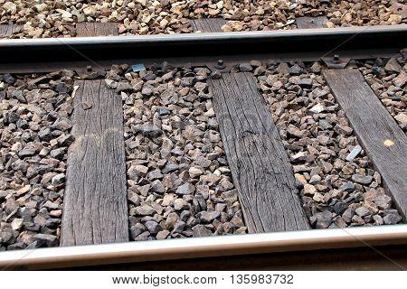 a close up of a railway line