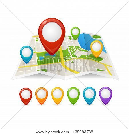 Maps and Pin Navigation Isolated on White Background. Navigation around the City. Vector illustration