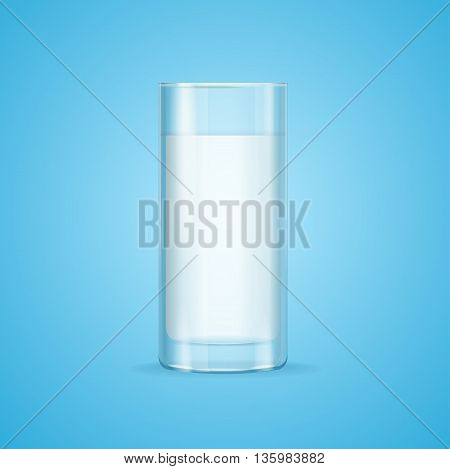 Realistic Milk Glass on Blue Background for a Healthy Breakfast. Vector illustration