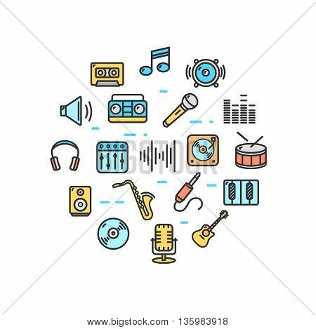 Music Round Design Template Thin Line Icon Set Isolated on White Background. Vector illustration