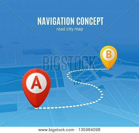 Navigation Concept Road City Map. Distance between Points Vector illustration