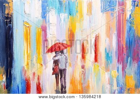 couple is walking in the rain under an umbrella