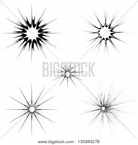 Explode Flash, Cartoon Explosion. Burst Set Isolated on White Background