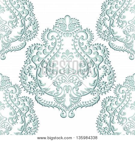 Vector Baroque floral damask ornament pattern. Elegant luxury texture for textile fabrics or backgrounds. opal blue color
