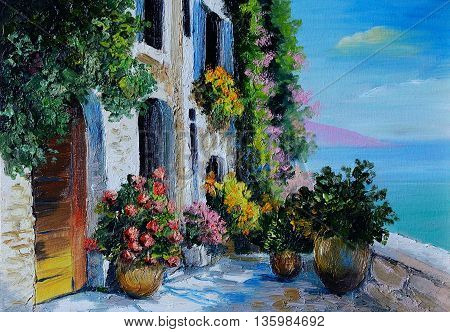 Oil Painting - stone embankment filled with flowers near the sea colorful noon sea coast